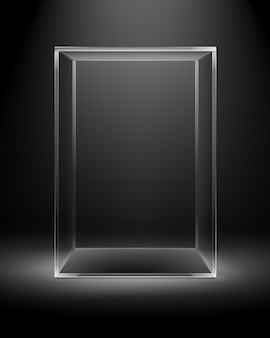 Vector empty transparent glass box rectangle cube on dark black with backlight