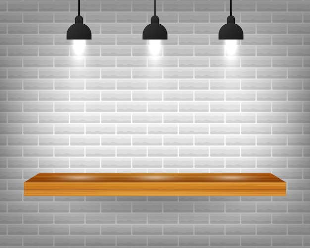 Vector empty wooden shelf isolated on gray brick wall background.