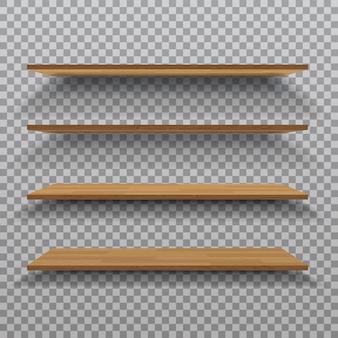 Vector empty wooden shelf isolated