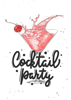 Vector engraved style cosmopolitan alcoholic cocktail illustration cocktail party