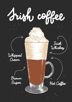 Vector engraved style irish coffee cocktail illustratio hand drawn sketch with lettering and recipe