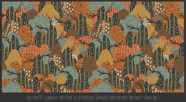Eps вектор бесшовные шаблон иллюстрации японские горы абстрактные формы искусства.