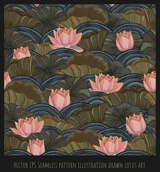 ベクトルepsシームレスパターンヴィンテージ線描画イラスト蓮と葉アート
