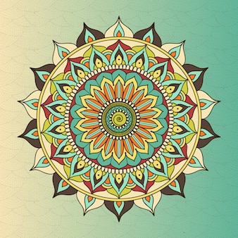 Vector ethnic oriental circle mandala. sacred symbol buddhism, meditation flower, decoration ethnic, tribal motif illustration