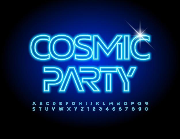벡터 이벤트 포스터 우주 파티 미래의 전기 글꼴 블루 네온 알파벳 문자와 숫자 s