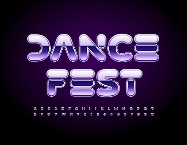 Vector event poster dance fest futuristic style font purple metallic alphabet letters and numbers