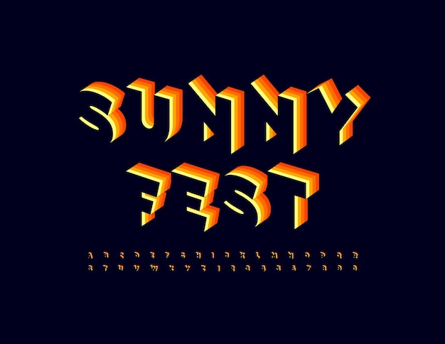 Vector event poster summer fest trendy layered font bright isometric alphabet letters and numbers