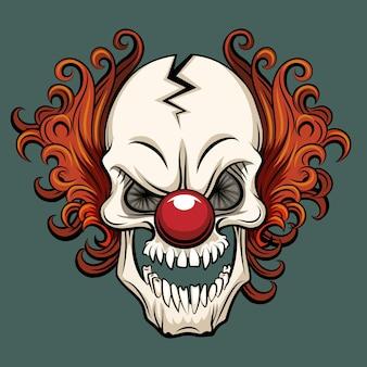 Pagliaccio diabolico di vettore. pagliaccio spaventoso, mostro del pagliaccio di halloween, illustrazione del personaggio del pagliaccio joker