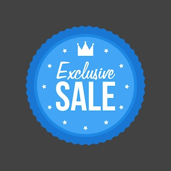 Vector exclusive sale flat blue sign, round label.