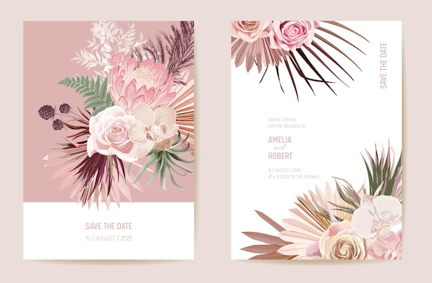 Vector exotic dry flower, palm leaves boho invitation card. wedding dried protea, orchid, pampas grass floral save the date set. watercolor template frame, foliage cover, modern background design