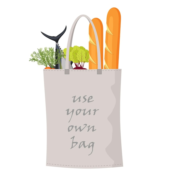 Vector fabric textile bag with food isolated on white background. use your own bag concept