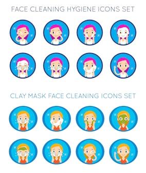 Набор векторных иллюстраций действий по очистке и уходу за лицом