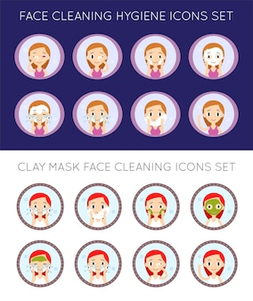 Vector face cleaning and care actions illustration set
