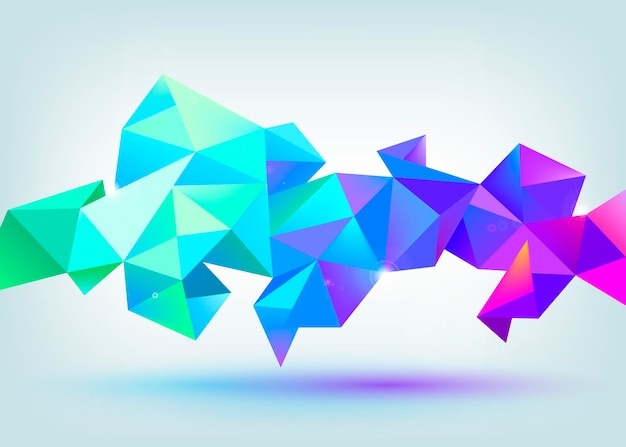 Vector faceted 3d crystal colorful shape, banner. crystal banner, horizontal orientation.