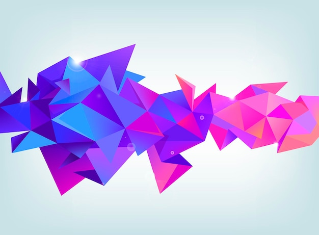 Vector faceted 3d crystal colorful shape, banner. crystal, horizontal orientation purple and pink colors. use as background, web header, ad, etc.