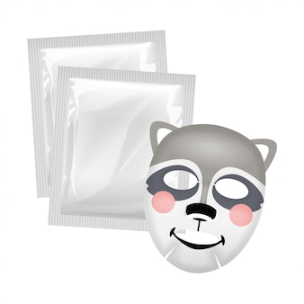 Vector facial mask, skin care concept, mask with a raccoon face, skin treatment