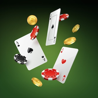 Vector falling playing cards, gold coins and black, red casino chips isolated on green background