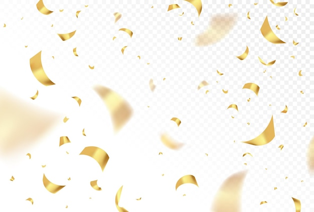 Vector falling shiny golden confetti isolated on transparent background. party, birthday festive, new year celebration gold shimmer paper. graphic design realistic illustration