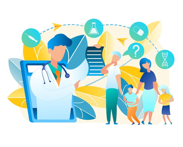 Vector family turned for help doctor pediatrician. illustration men and woman consult online with doctor. boy and girl holding to sore belly. online medicine using tablet communication with man doctor