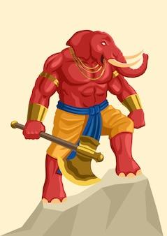 Ganesh, 힌두교의 인도 신의 벡터 판타지 아트 그림