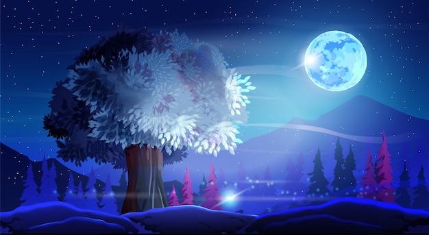 별이 빛나는 하늘 배경에 아름다운 구부러진 나무, 산, 나무, 달이 있는 벡터 환상의 밤 풍경. 부르고뉴 단풍과 밤의 멋진 색상.