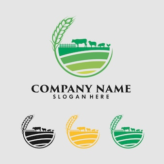 Vector farm with cow, pig, sheep and chicken logo design