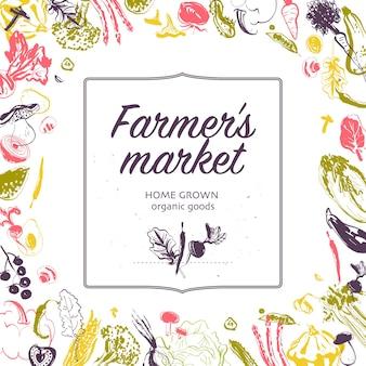 白い背景で隔離のフレーム手描きスケッチ生野菜とベクトルファーマーズマーケットバナーファーマーズマーケットアンプフードフェアバナーと広告メニューパッケージ値札に適しています
