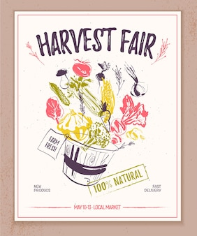 Vector farmers market banner with hand drawn sketch basket full of raw vegetables splashing out good for farmers market and food fair banners and advertisements menu packaging price tags etc
