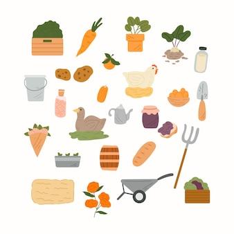異なる要素を持つベクトル農業コレクション。