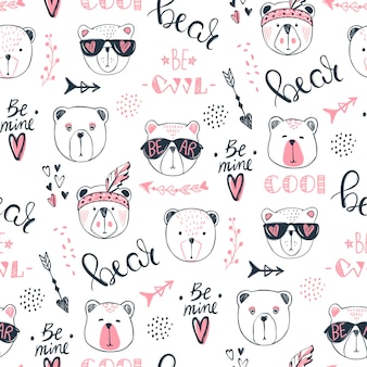 Vector fashion bear seamless pattern. cute teddy
