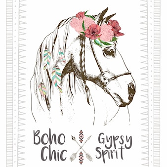 Vector fashion boho chick horse