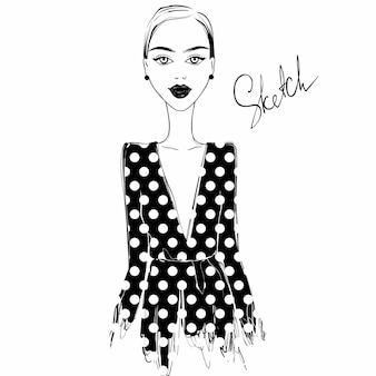 Vector fashion girl illustration in vogue style