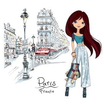 Девушка моды вектор в париже