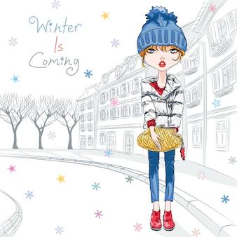 구시가지에서 겨울 옷을 입은 벡터 패션 소녀