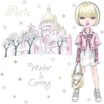 Вектор моды девушка в зимней одежде в париже