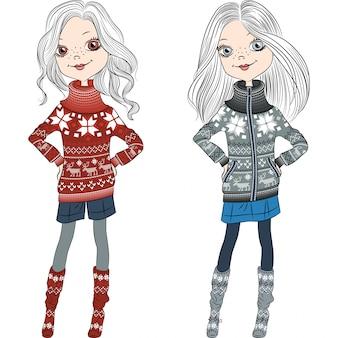 Векторные модные хипстерские девушки в вязаных свитерах