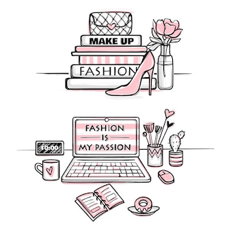 Vector fashion illustration. desktop concept for girls. stylish workplace.