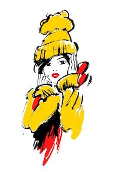 冬の服を着た女の子のベクトルファッションイラスト。
