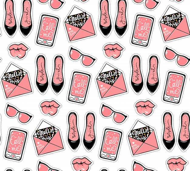 Vector fashion seamless pattern with stylish contemporary stickers.