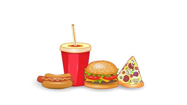 白い孤立した背景にファーストフードのイラストをベクトルします。ピザ、チスバーガー、ホットドッグ、飲み物。ストリートファーストフードランチまたは朝食の食事セット。 eps10。