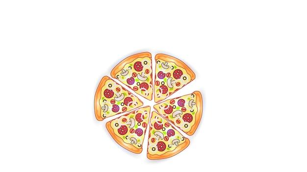 白い孤立した背景にファーストフードのイラストをベクトルします。ソーセージ、マッシュルーム、玉ねぎ、ハーブのピザスライス。ストリートファーストフードのランチまたは朝食。 eps10。