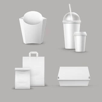Векторный набор пакетов быстрого питания из реалистичной коробки для гамбургеров. классический контейнер для гамбургеров. картофель-фри в белой коробке. пустая картонная чашка для напитков с соломенной бумагой.