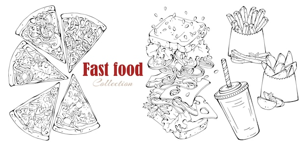 Vector fast food: sandwich, country potatoes, pizza, drink.