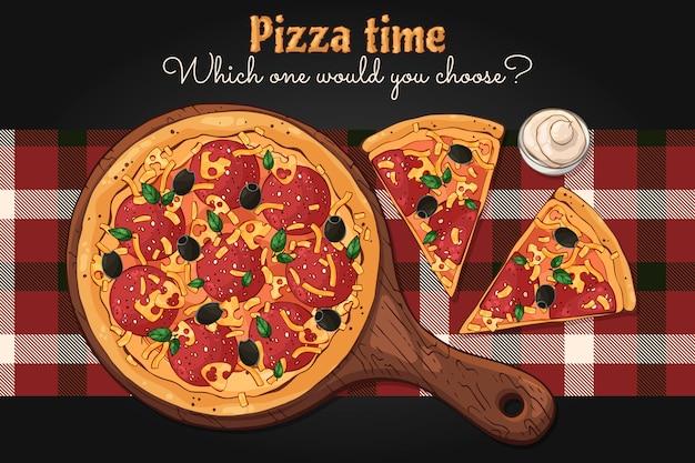 벡터. 패스트 푸드 테마 : 보드에 피자.