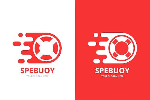 Комбинация векторных быстрых спасательных кругов с логотипом уникальная спасательная шлюпка и цифровой шаблон дизайна логотипа