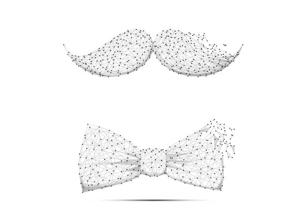 Векторная иллюстрация день отца абстрактная линия месива и точка усы и галстук-бабочка