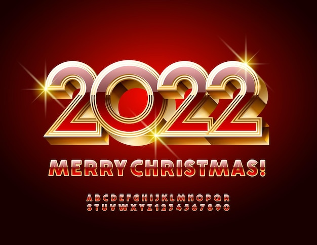 Vector festive greeting card merry christmas 2022 red and gold alphabet letters and numbers set