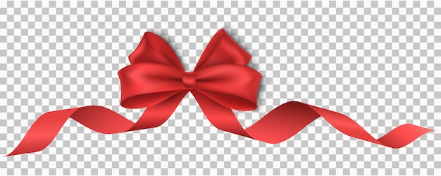 Vector, festive, realistic, red ribbon with bow isolated on transparent background for christmas, new year, party, sale or birthday. luxury, silk tape. realistic design element for holiday. eps 10.