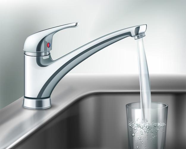 Вектор наполнение стакана воды из кухонного смесителя из нержавеющей стали