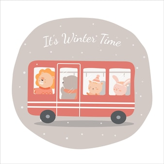 Vector of final winter with lion, bear, cat and rabbit ride on bus